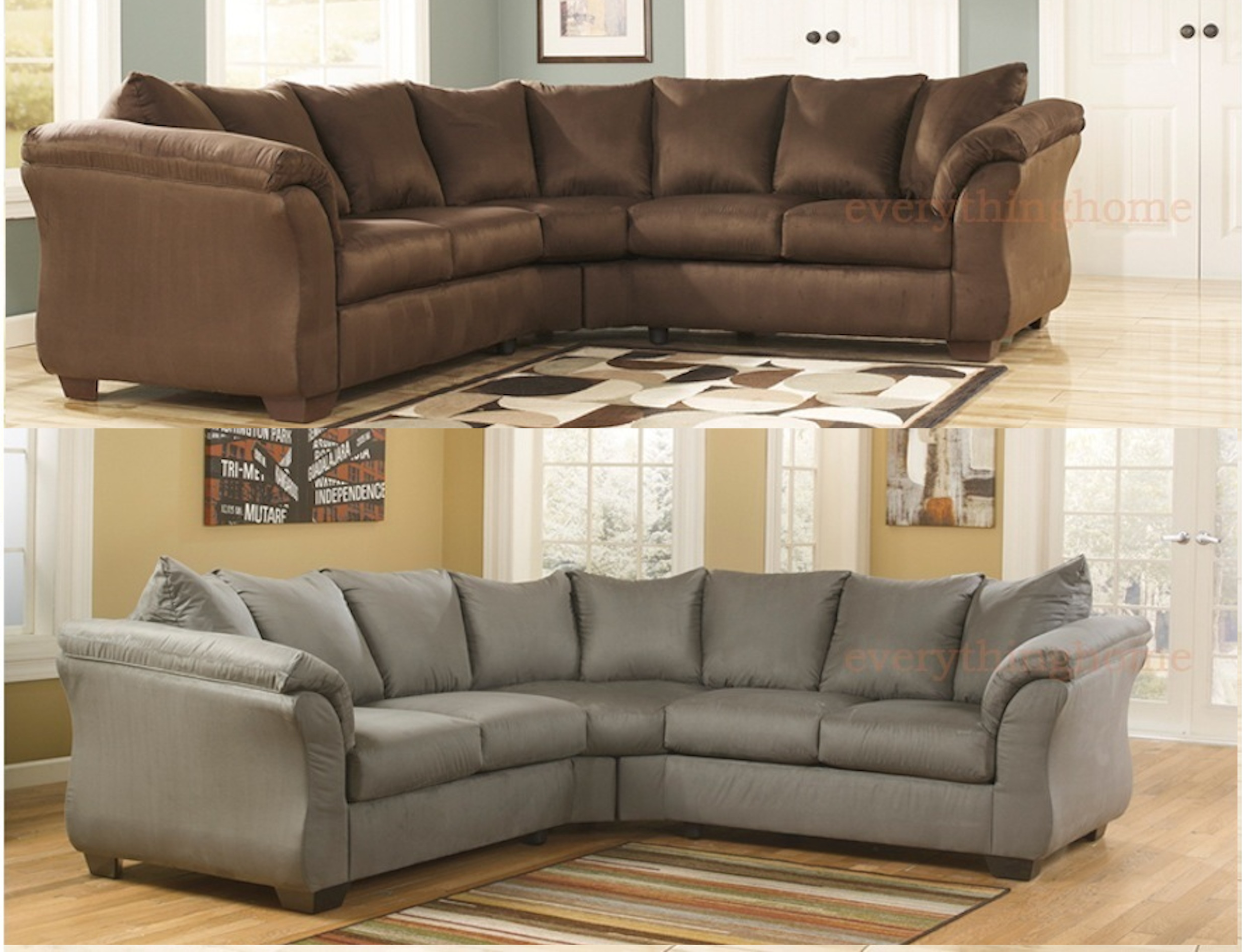 Details about CAFE BROWN COBBLESTONE GRAY SECTIONAL SOFA ASHLEY DARCY  SIGNATURE MICRO FABRIC
