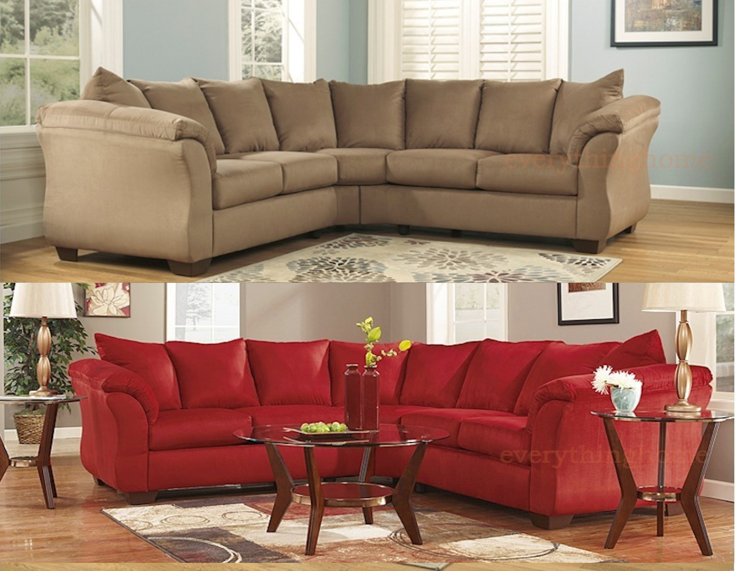 NEW ASHLEY DARCY SIGNATURE FABRIC UPHOLSTERED SECTIONAL ...