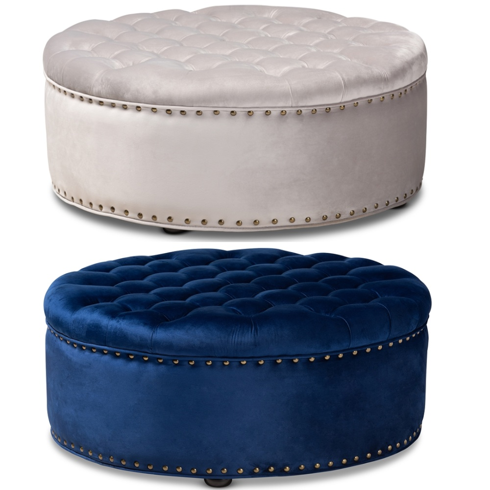 Incredible Details About Velvet Round Tufted Cocktail Ottoman Modern Royal Blue Or Gray Brass Tack Nail Caraccident5 Cool Chair Designs And Ideas Caraccident5Info