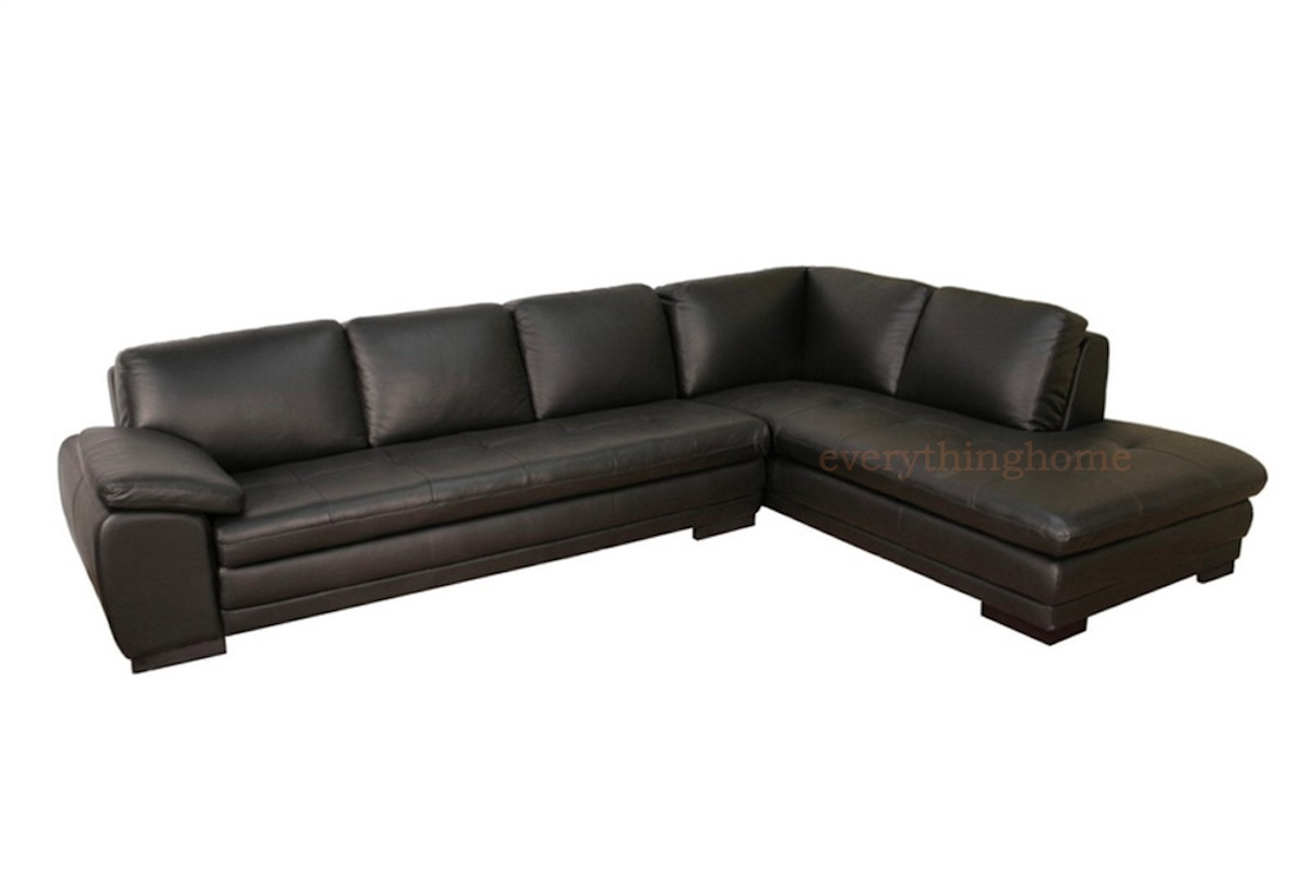 Details about Black Modern Genuine Real Leather Sofa Chaise Sectional Home  Theater Seat New