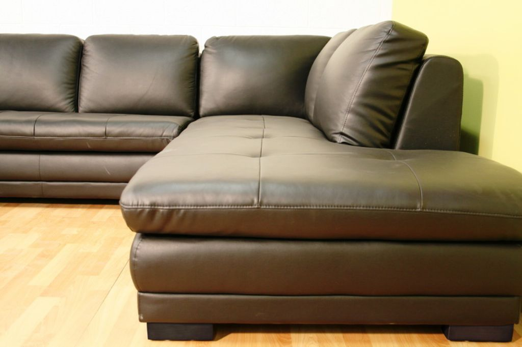 Home Theater Leather Sofa Couch Chaise Sectional Black