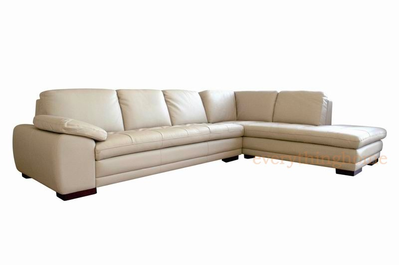 Beige modern genuine real leather sofa chaise sectional for Beige sofa with chaise