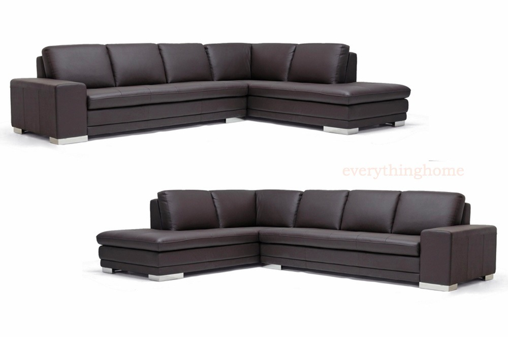 Fantastic Details About Dark Brown Genuine Leather Modern Sofa Sectional Couch Right Left Facing Chaise Inzonedesignstudio Interior Chair Design Inzonedesignstudiocom