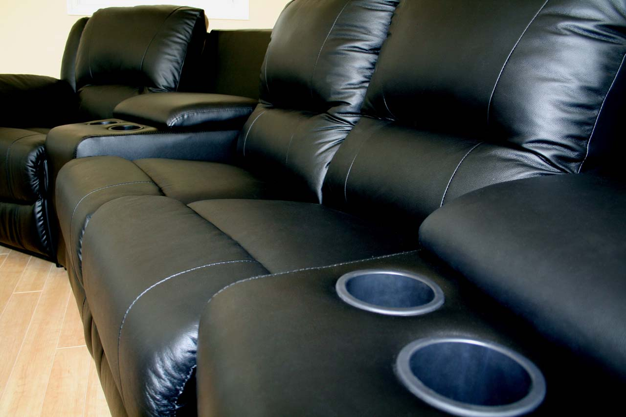 HOME THEATER SEATING BLACK GENUINE REAL LEATHER SECTIONAL RECLINING MOVIE CHA