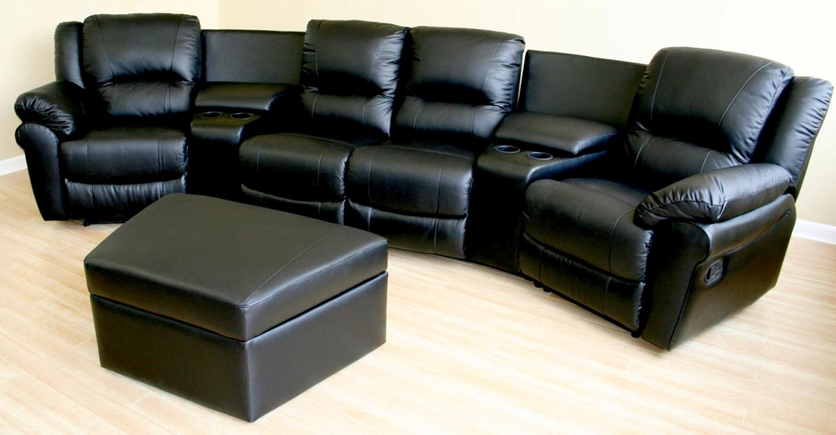 Home theater seating black leather recliner sectional sofa movie Loveseat theater seating