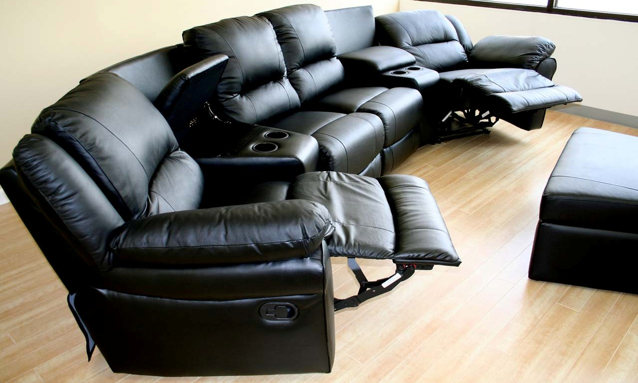 Home Theater Seating Black Genuine Real Leather Sectional