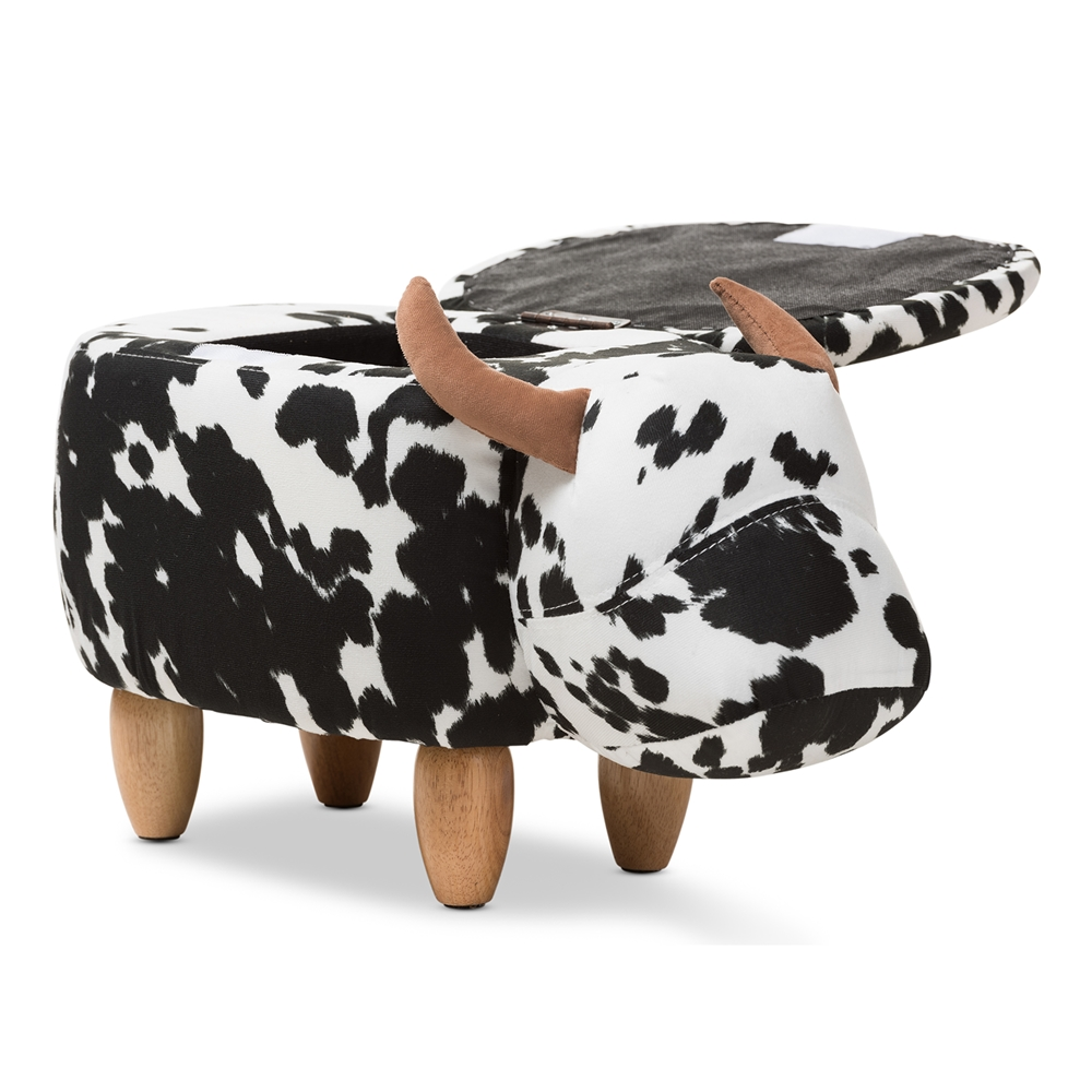 Outstanding Details About Black White Spot Buffalo Bull Cow Storage Ottoman Small Toy Box Wool Upholstered Short Links Chair Design For Home Short Linksinfo