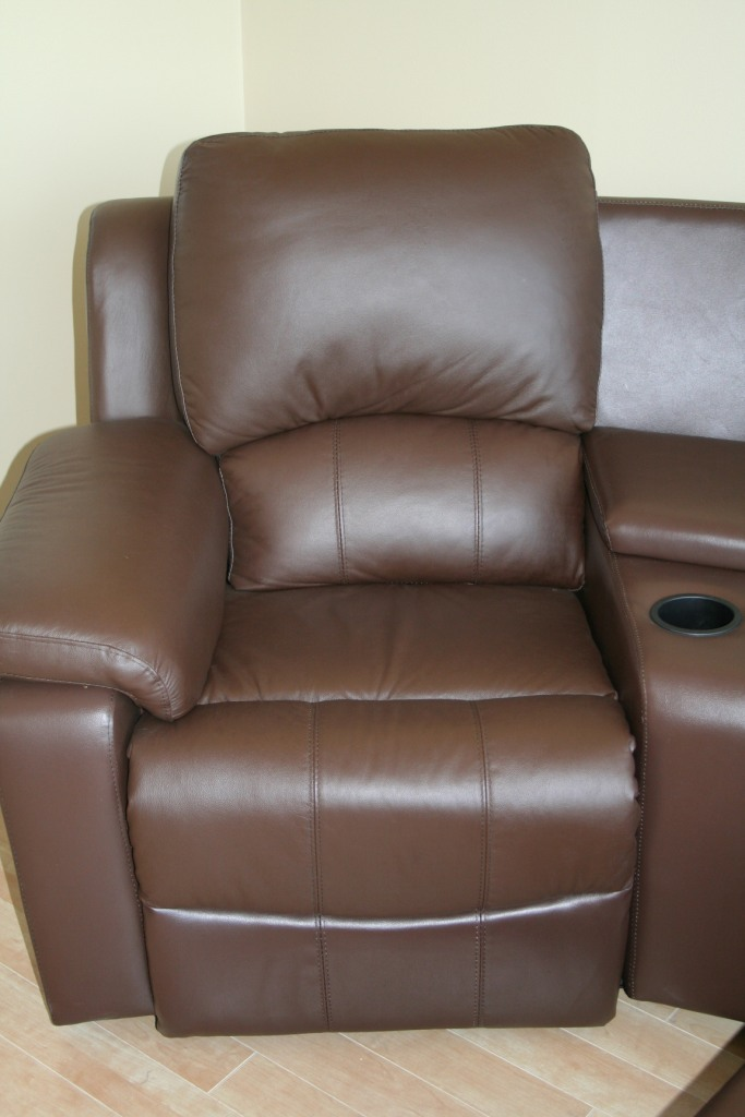 brown black top grain leather home theater seating recliner sectional