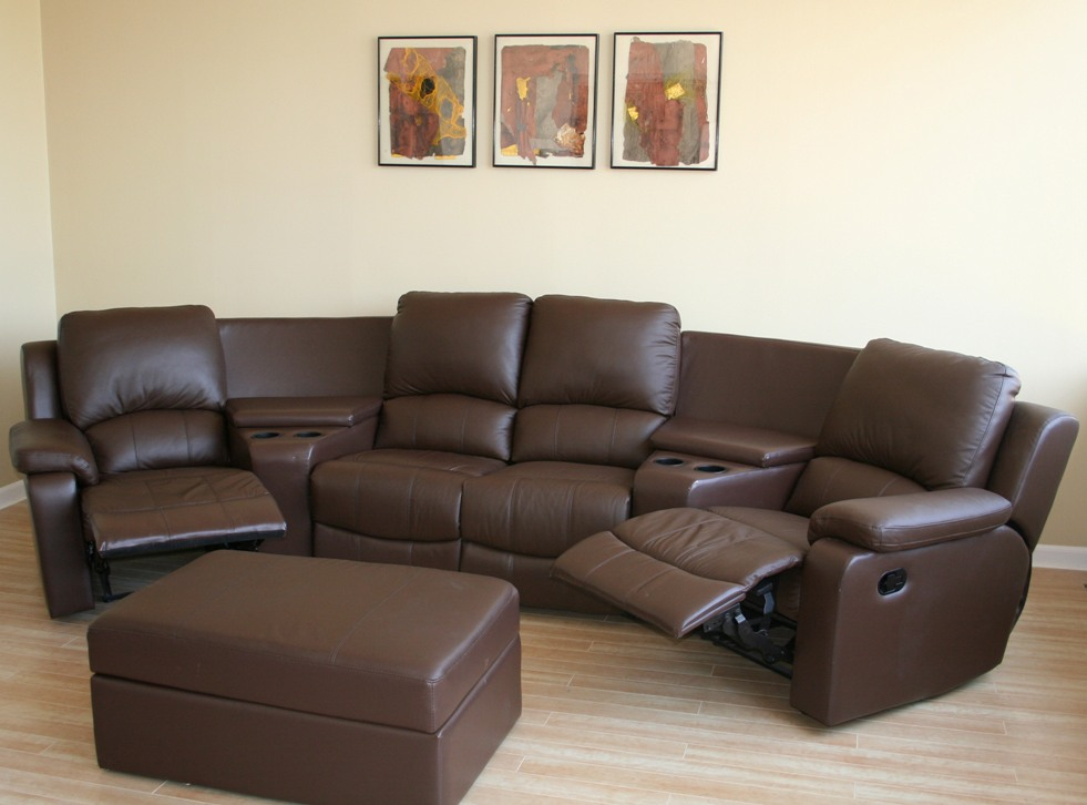 Brown black real genuine leather home theater seating for Corner home theater furniture