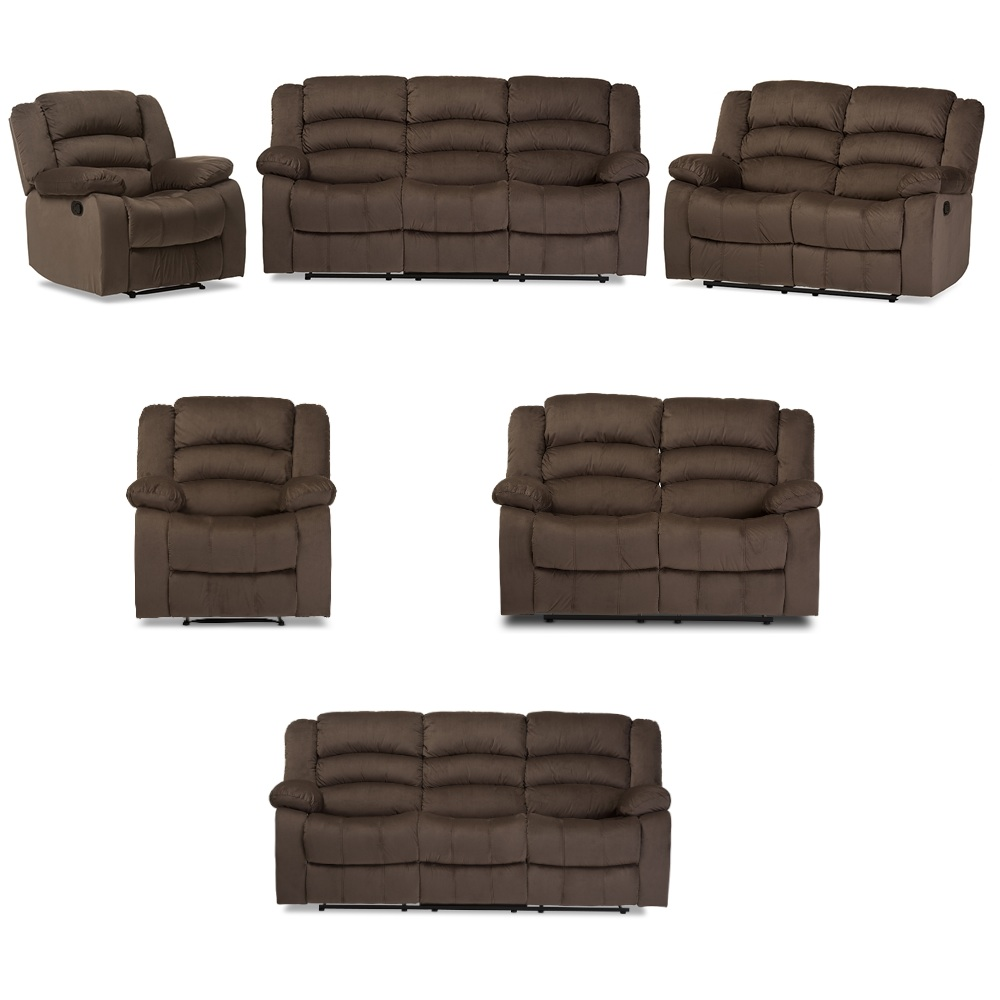 Details about Microsuede Set 3-Seat Reclining Sofa, 2-Seat Loveseat, 1  Chair Taupe (Brown)
