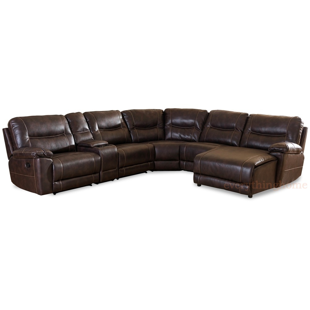 Details about Dark Brown Bonded Leather 6-Piece Theater Sectional Sofa  Recliner Corner Lounge