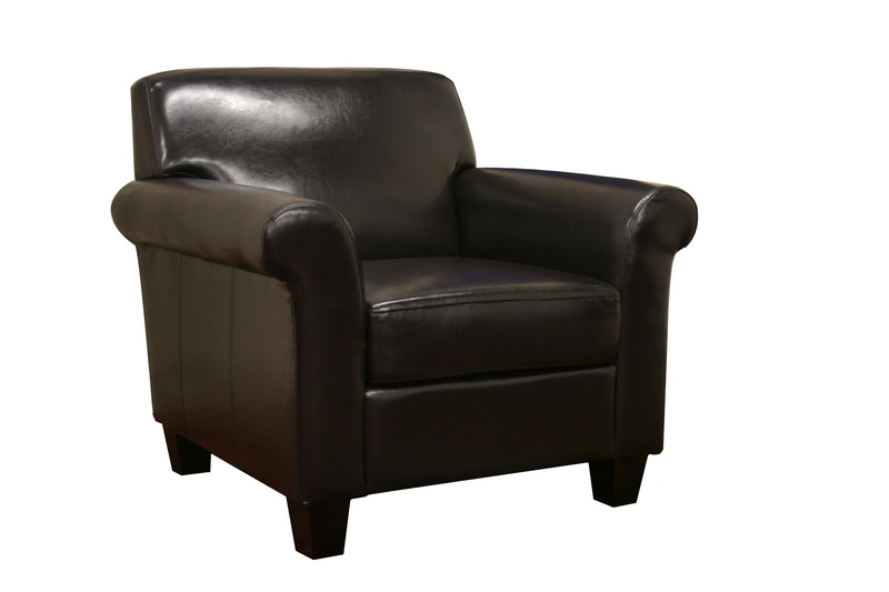 BLACK BROWN FAUX LEATHER MODERN CLUB CHAIR NEW