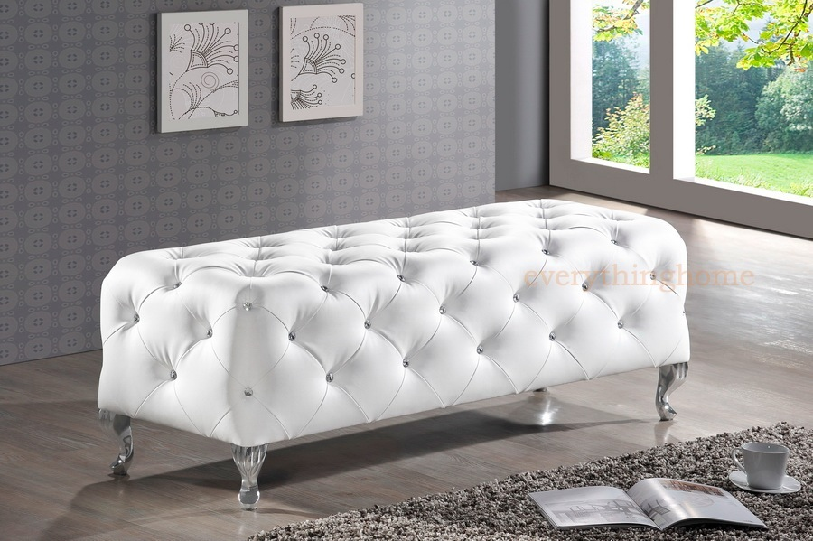 Modern Black White Faux Leather Crystal Tufted Bedroom Bench Ottoman Entry Way Ebay