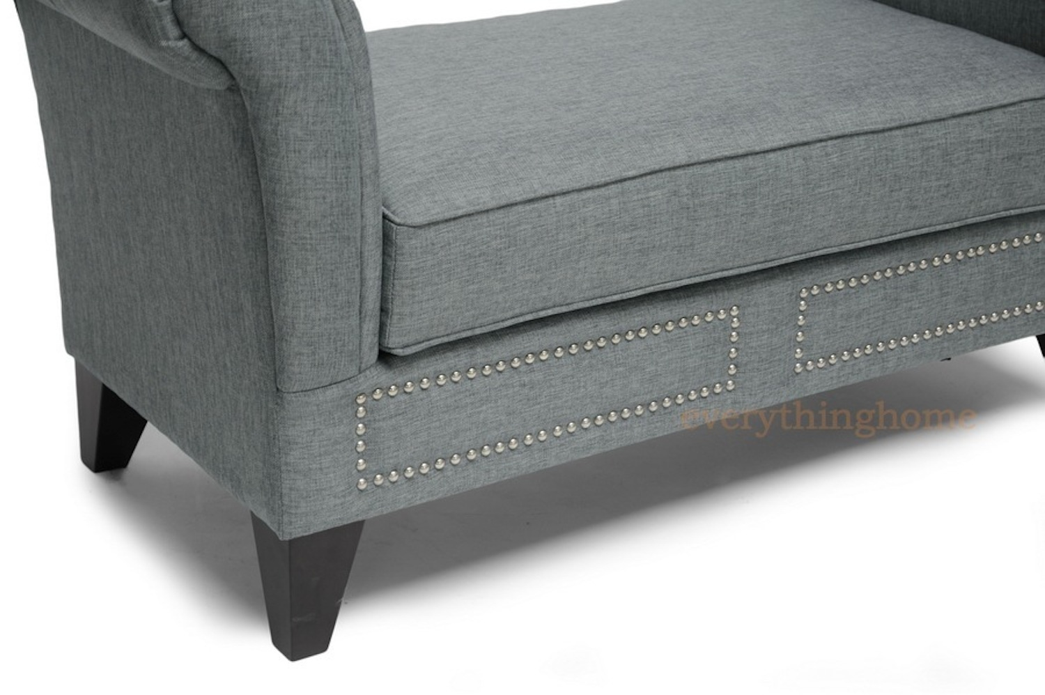 Modern Bedroom Bench Black White Faux Leather Gray Linen Scroll Arm Entry Way Bench