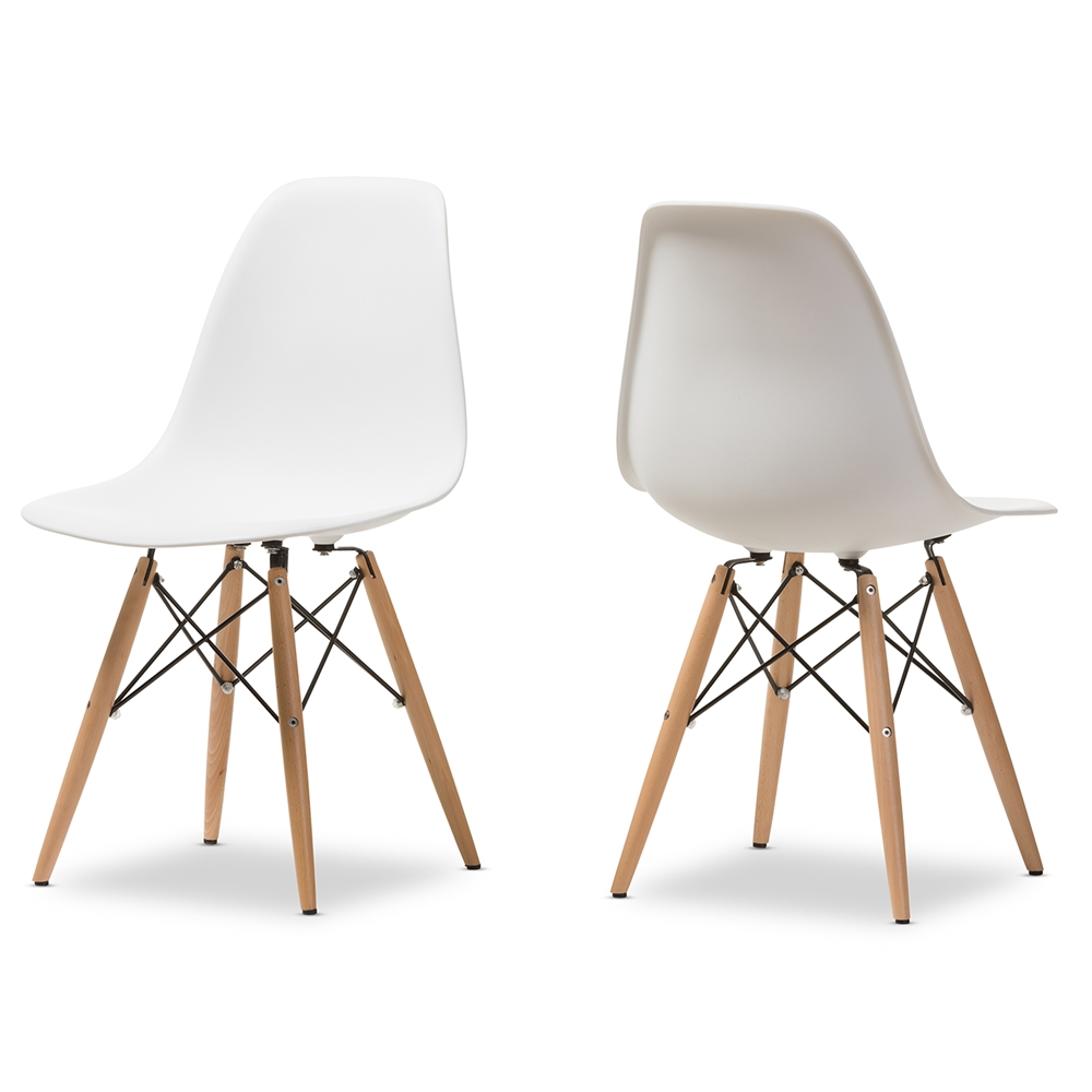 Enjoyable Details About 2X White Eiffel Plastic Shell Pyramid Dining Side Chairs Wood Dowel Base Legs Bralicious Painted Fabric Chair Ideas Braliciousco