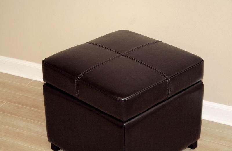 dark brown new leather storage cube ottoman footstool ebay. Black Bedroom Furniture Sets. Home Design Ideas