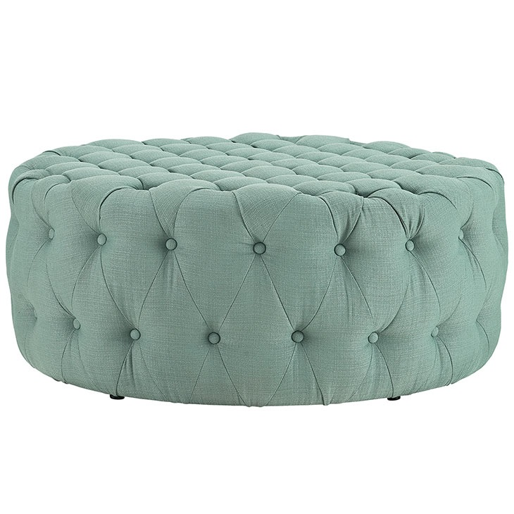 Large Round Coffee Table Cocktail Ottoman Button Tufted 14 Fabric Colors 40 Dia