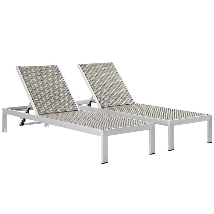 Superb Details About Set Of 2 Silver Gray Rattan Outdoor Patio Sun Lounge Chairs Aluminum Frame Pabps2019 Chair Design Images Pabps2019Com