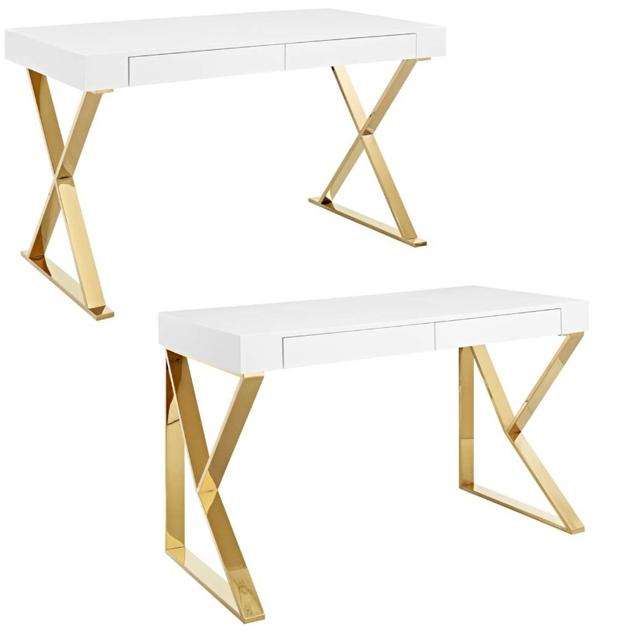 Details About Modern White Gold Adjacent Triangle Leg Or Cross X Leg Office  Writing Table Desk