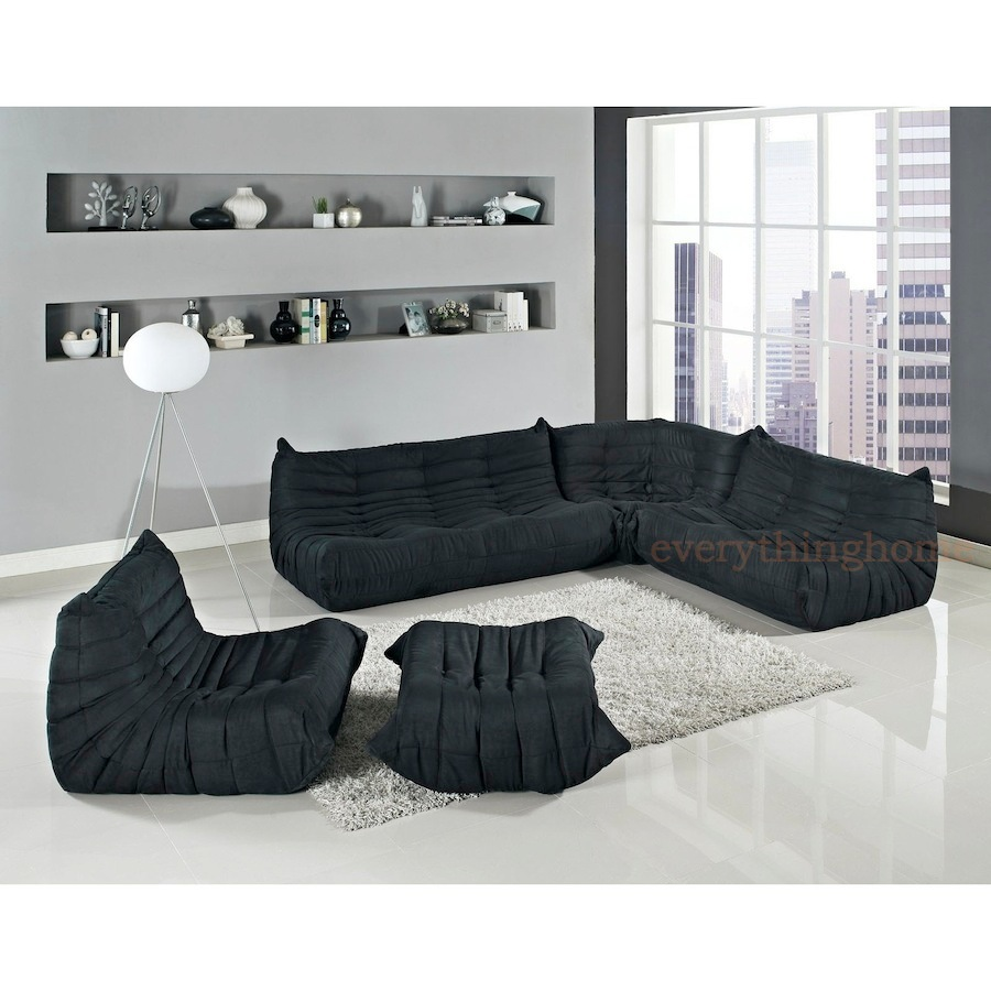 Photos above represent the sofa set in the color: Black). In addition ...