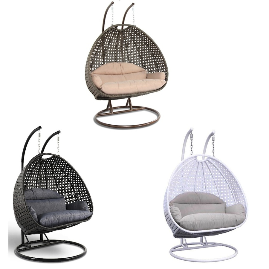 Groovy Details About Wicker Hanging 2 Person Egg Swing Chair Indoor Outdoor Charcoal Blue Beige White Theyellowbook Wood Chair Design Ideas Theyellowbookinfo