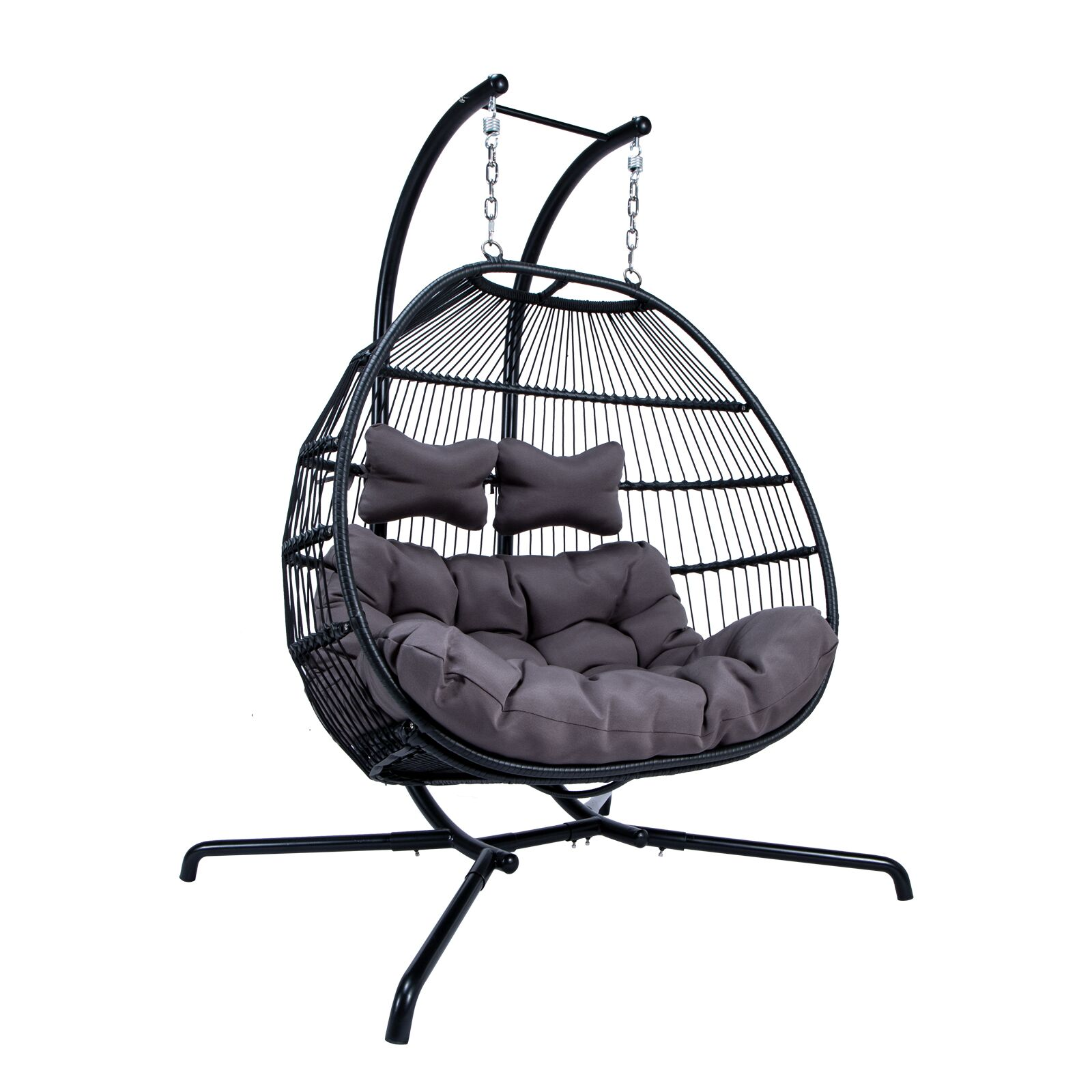 Astonishing Details About Wicker Folding Hanging 2 Person Egg Swing Chair Indoor Outdoor Use Charcoal Machost Co Dining Chair Design Ideas Machostcouk