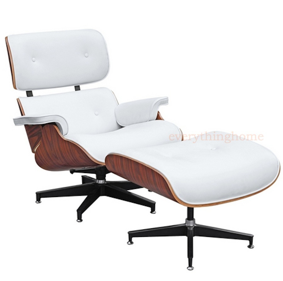 PLYWOOD LOUNGE CHAIR OTTOMAN ITALIAN WHITE OR BROWN LEATHER PALISANDER EAMES