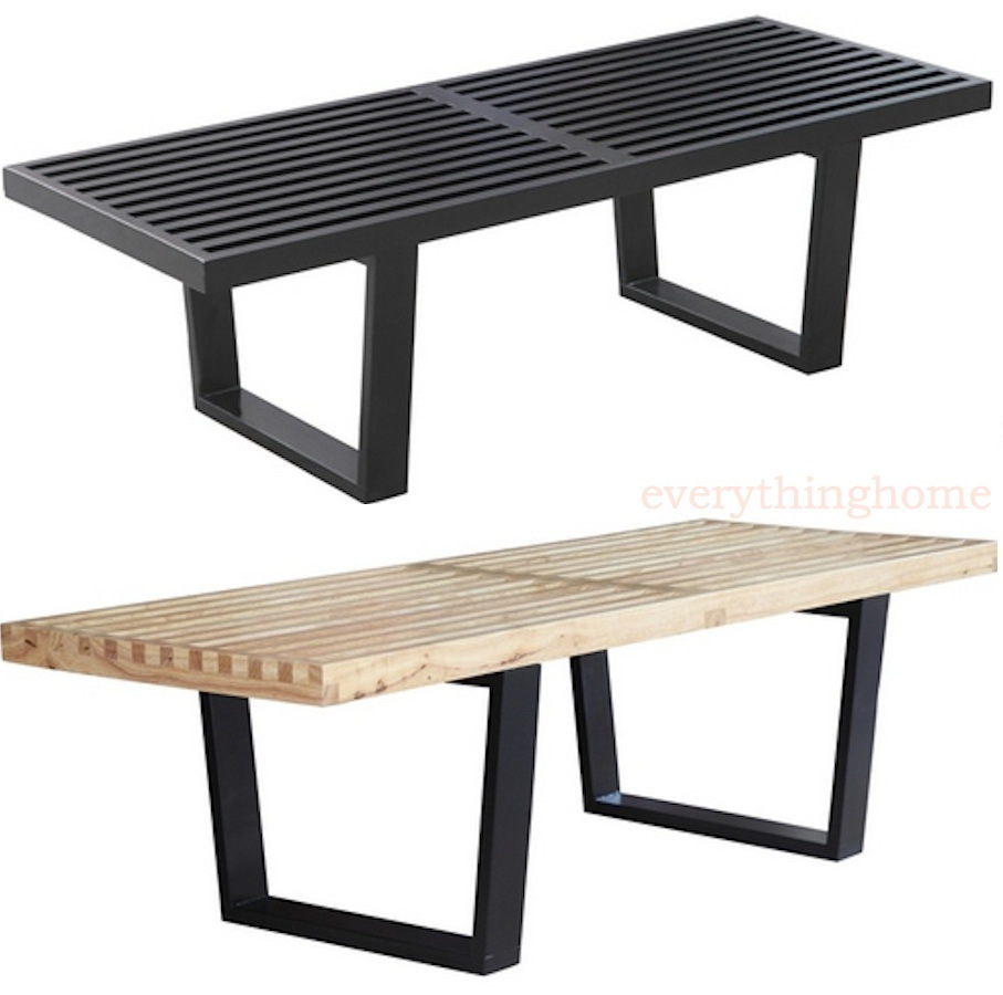 Pleasing Details About 72 6 Ft Modern George Nelson Natural Or Black Solid Wood Bench Coffee Table Andrewgaddart Wooden Chair Designs For Living Room Andrewgaddartcom