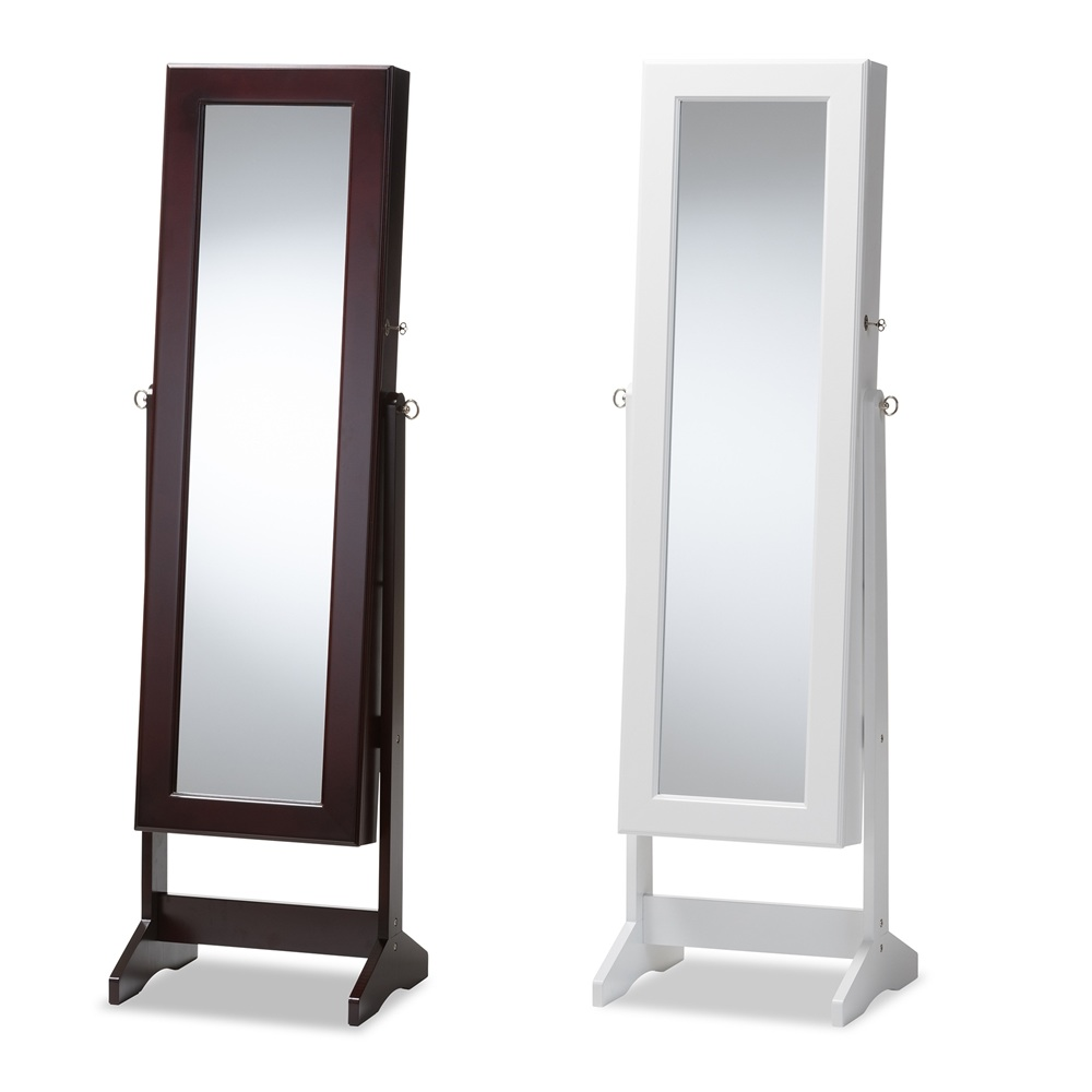 Details About Brown White Wood Dressing Floor Mirror Modern Jewelry Cabinet W Base Tilting