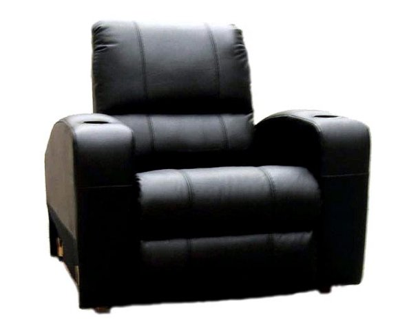 black genuine top grain leather home theater seating recliner chair 4