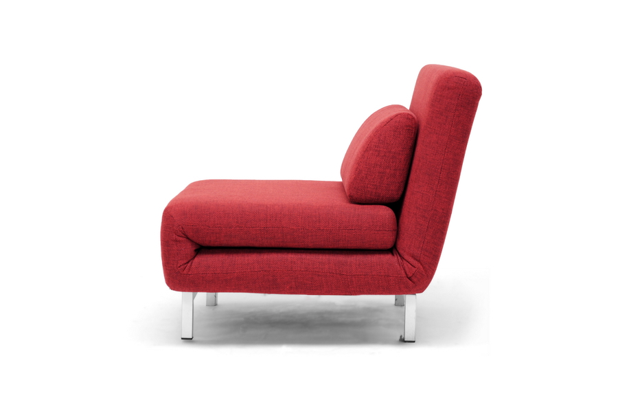 MODERN RED TWILL FABRIC CONVERTIBLE CHAIR SOFA CHAISE LOUNGE TWIN DAY BED FUT