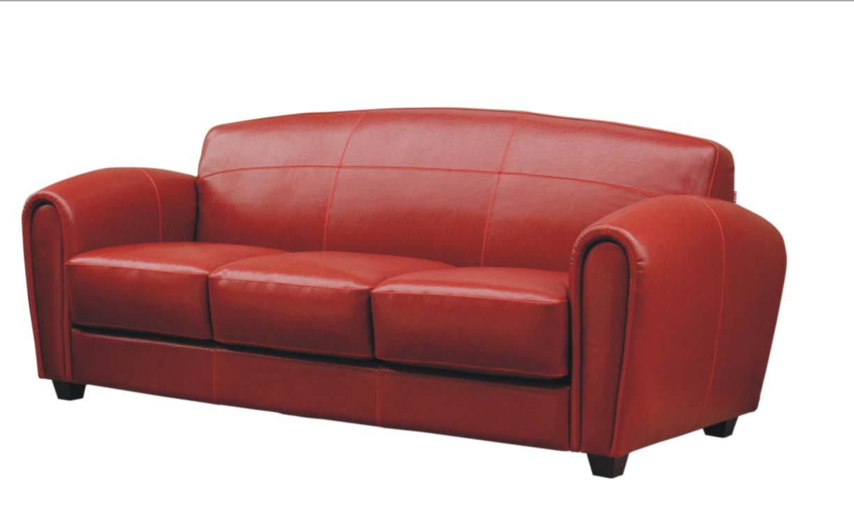 Modern Contemporaty Red Leather Cigar Art Deco Sofa Couch