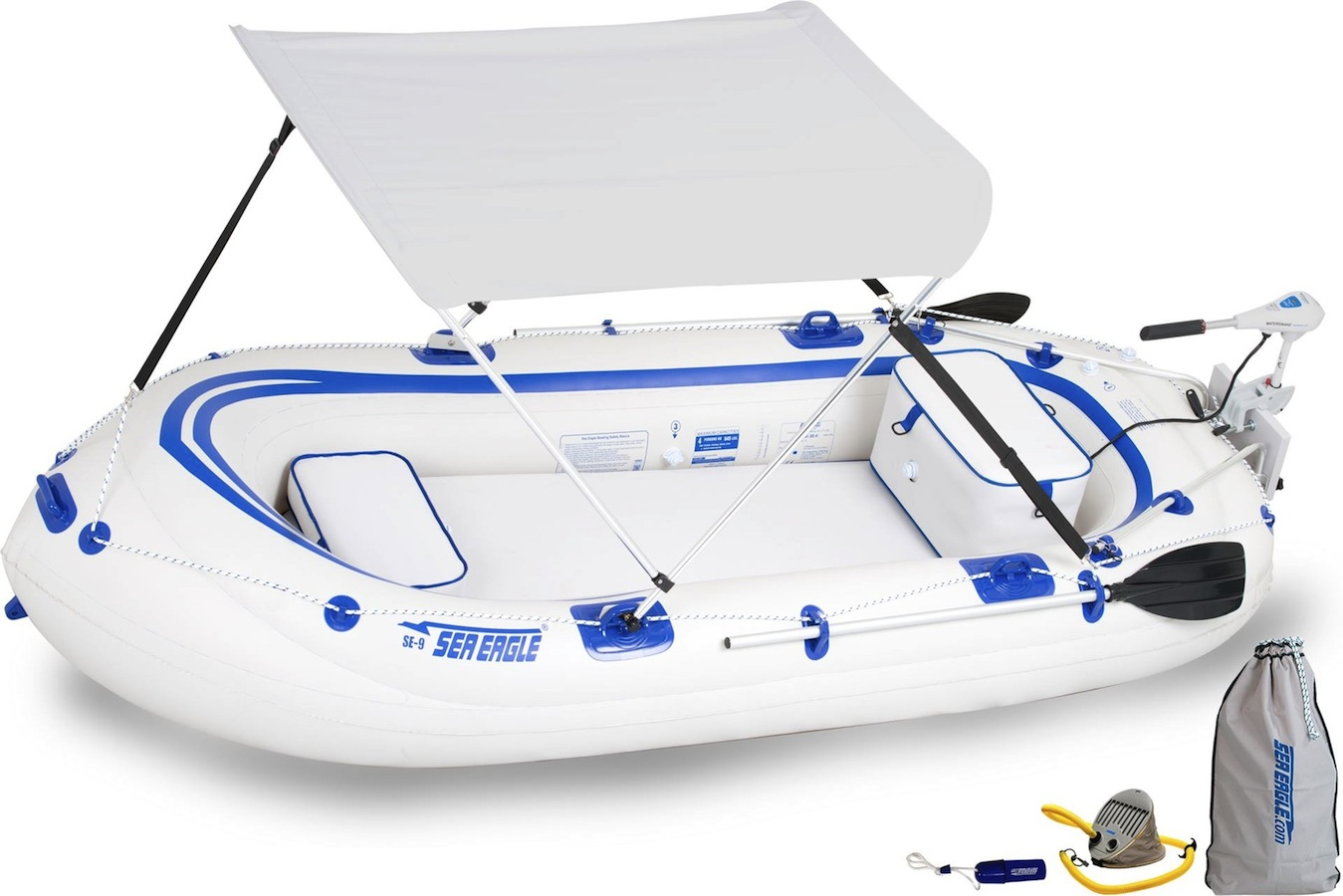 Details about Sea Eagle SE9 Watersnake Motor Canopy Package Inflatable  Runabout Boat Tender