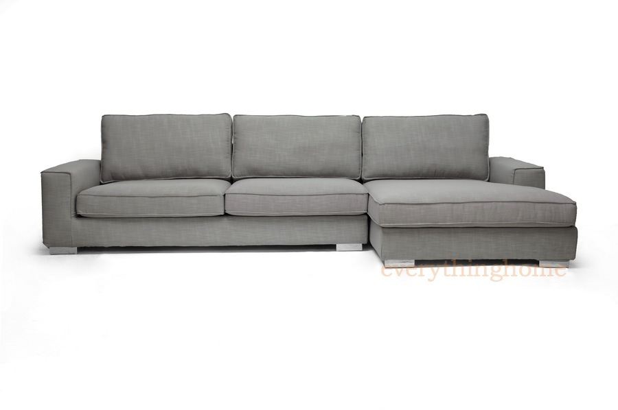 new modern gray fabric sectional sofa chaise grey