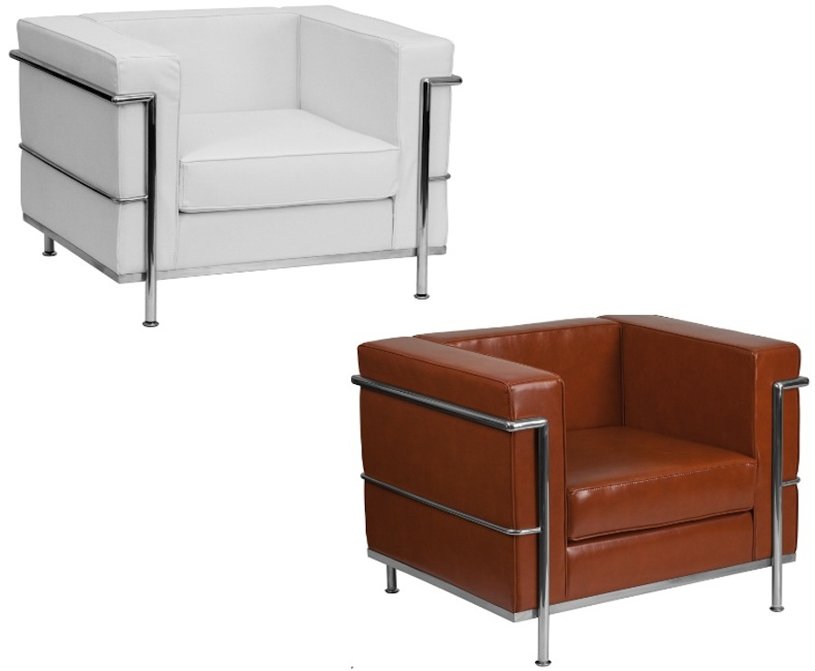 Details about White Cognac Leather-Soft* Le Corbusier LC2 LC3 Style Chair  Stainless Commercial