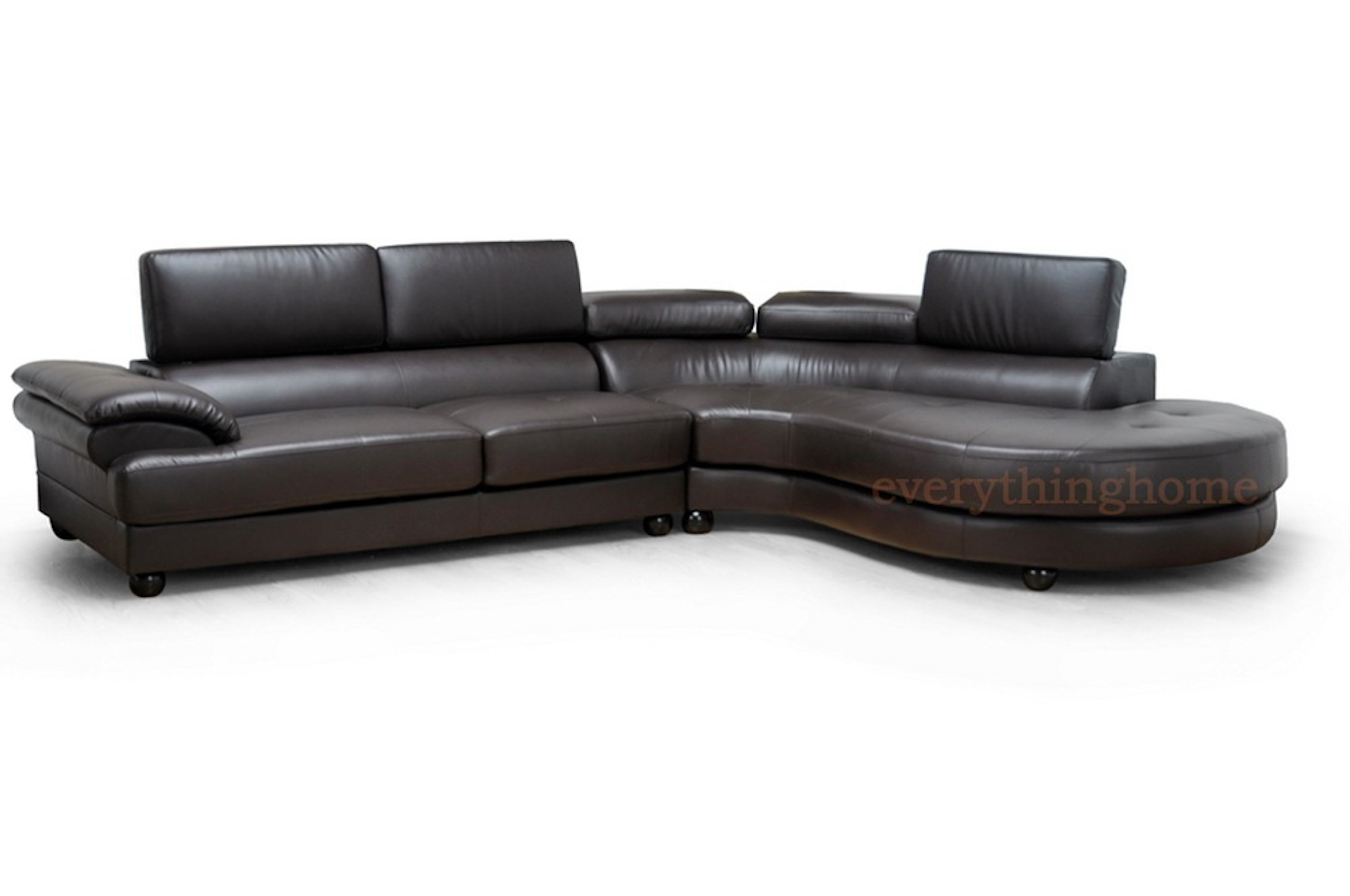 Brown bonded leather modern sectional left right facing for Bonded leather sectional sofa with chaise