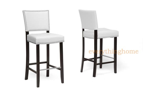 2 Modern White Faux Leather Bar Stools Nailhead Trim Wood