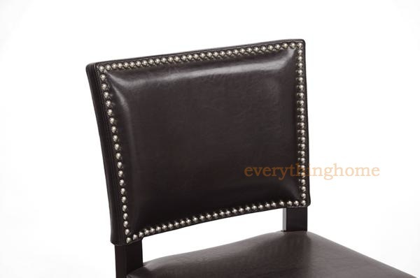 2 modern black or brown faux leather bar stools nail head trim wood frame new ebay - Leather bar stools with nailhead trim ...