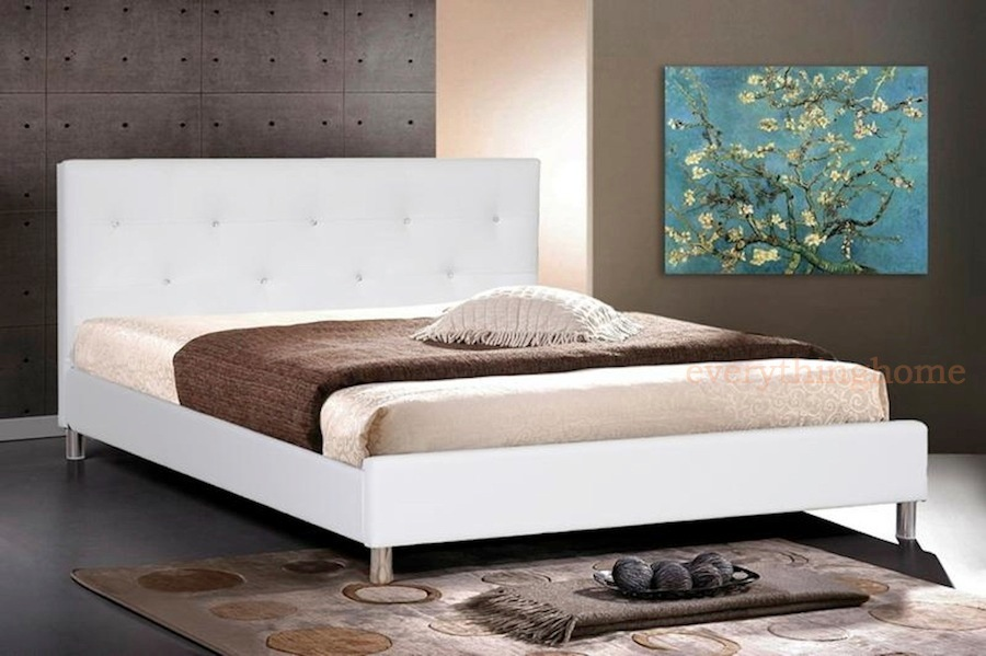 Barbara White Modern Bed with Crystal Button Tufting 900 x 599