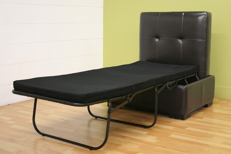 dark brown full leather ottoman footstool with pull out twin bed. Black Bedroom Furniture Sets. Home Design Ideas