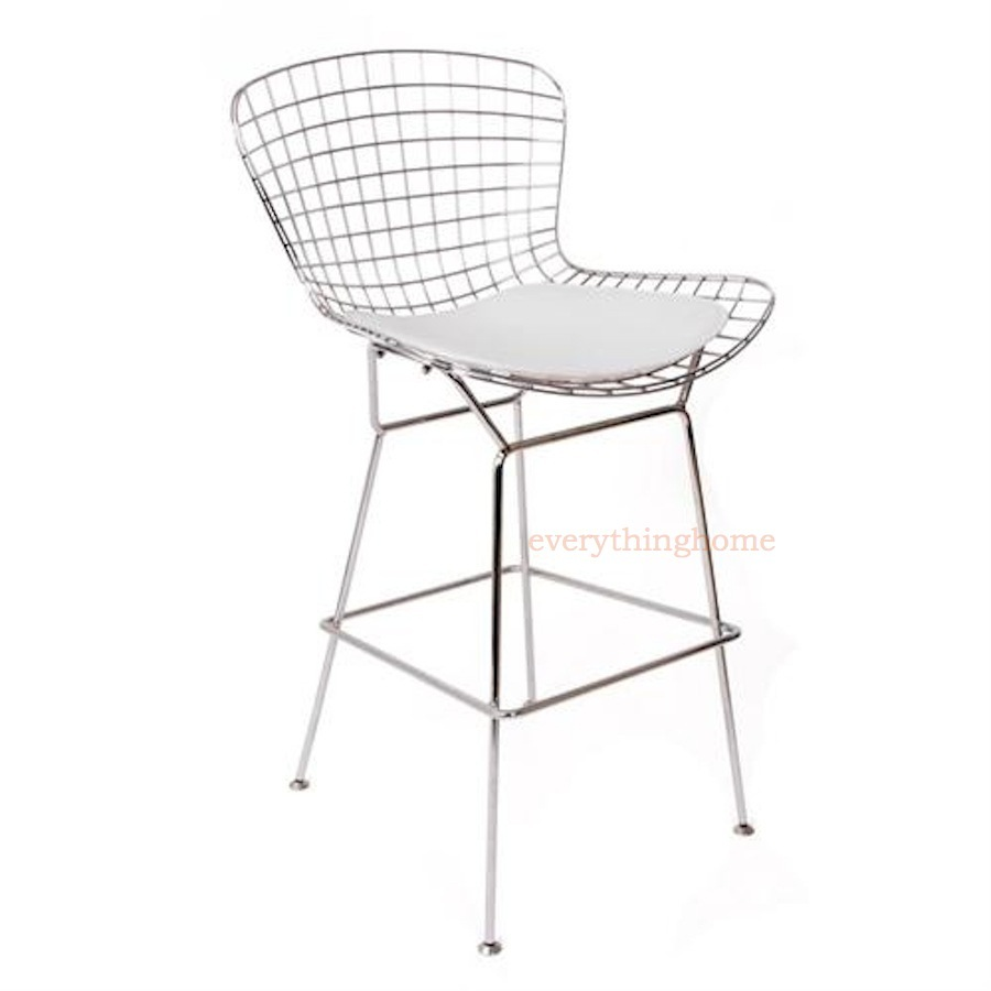 Bertoia counter stool black or white seat pad silver chrome steel wire 25 h ebay - Bertoia wire counter stool ...