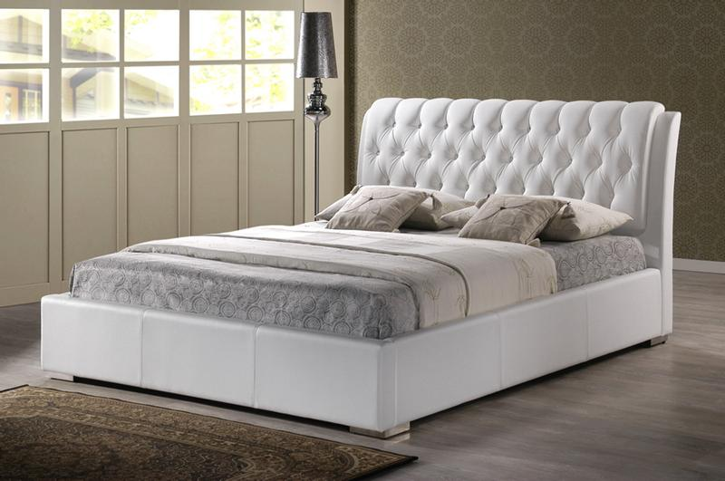 Modern white faux leather queen or king size platform bed frame tufted headboard - Modern hoofdbord ...