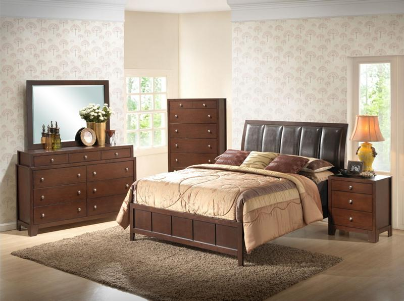 modern 5 piece dark brown bedroom set faux leather headboard queen