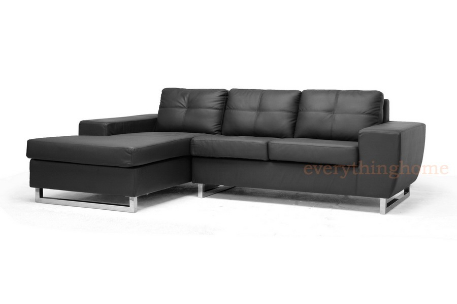 Modern black faux leather sectional sofa chaise wood frame for Black faux leather chaise lounge