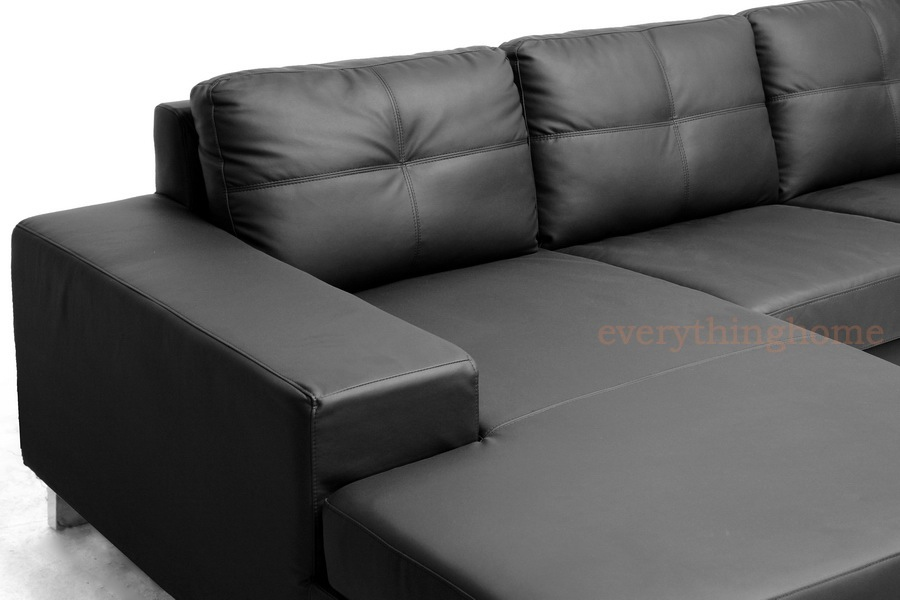 Modern Black Faux Leather Sectional Sofa Chaise Wood Frame
