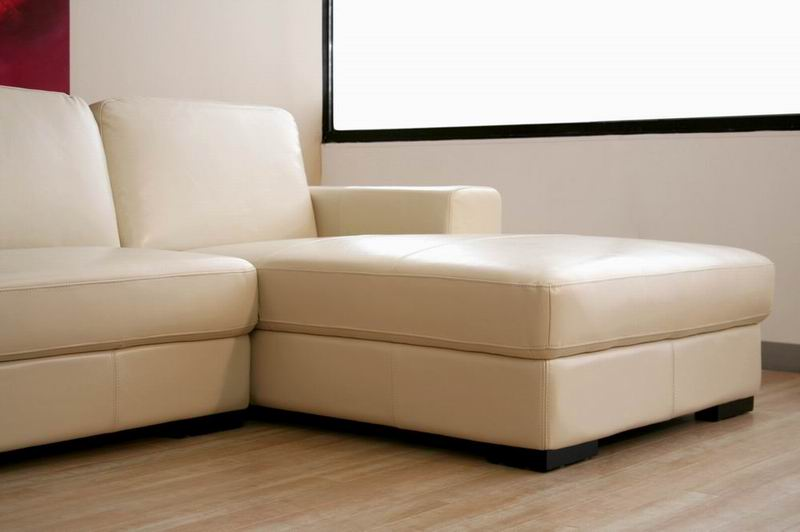 modern ivory cream large leather sectional chaise sofa contemporary designer new ebay. Black Bedroom Furniture Sets. Home Design Ideas