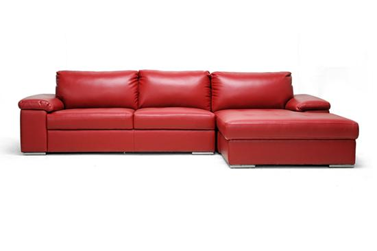 Modern Red Leather Designer Chaise Lounge 2 Piece