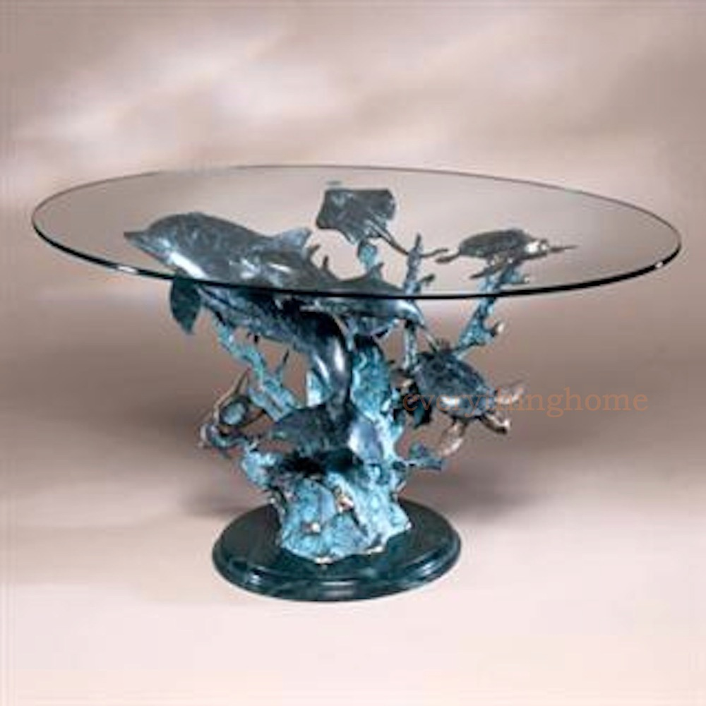 Dolphin Turtle Fish Ray Seaworld Brass Sculpture Coffee Glass Top Table Design Ebay