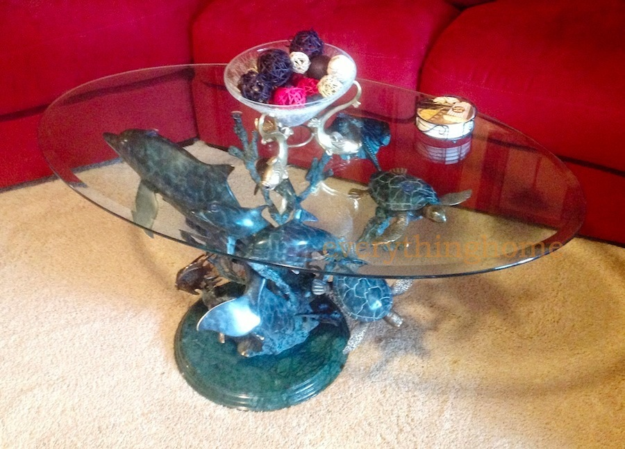 Dolphin turtle fish ray seaworld brass sculpture coffee for How to win money at fish tables