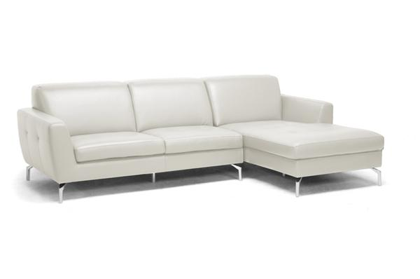 modern cream leather chaise lounge 2 piece sectional sofa
